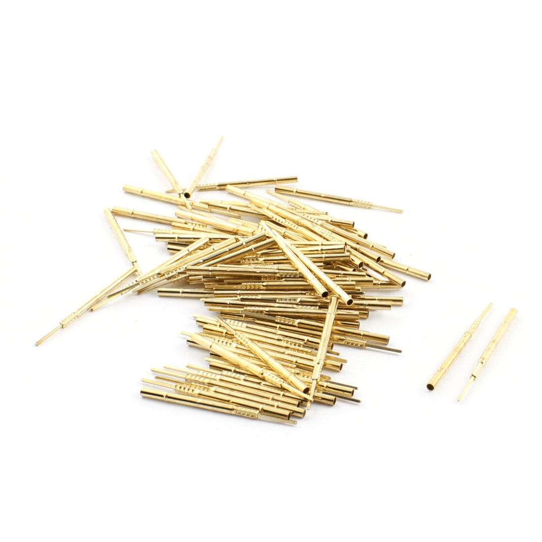 100pcs P160-3W 0.6mmx0.6mm Tip 30mm Length Metal Test Probes Testing Pins Receptacle Gold Tone for PCB Board
