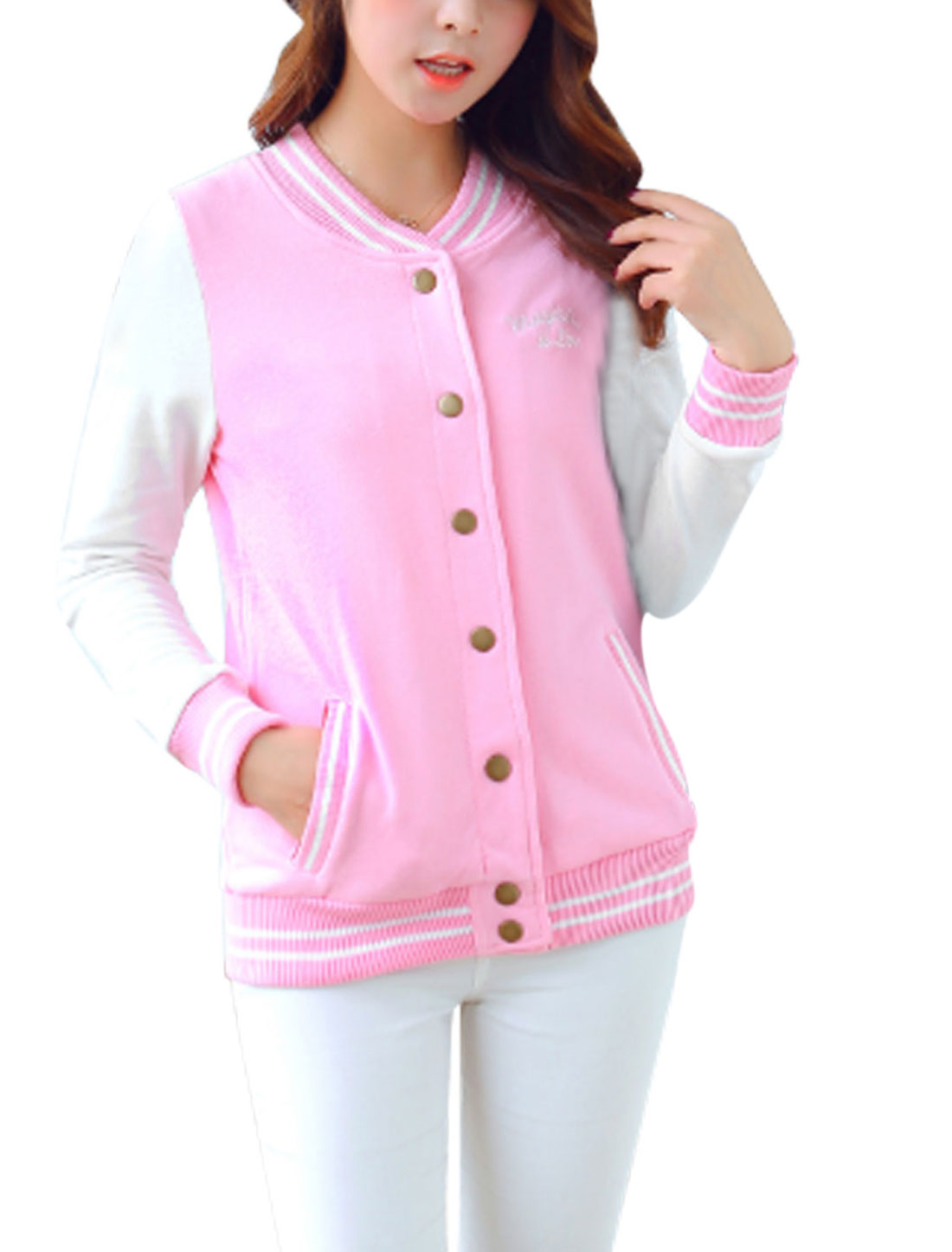 Ladies Pink White Single Breasted Letter Embroidery Detail Color Block Jacket L