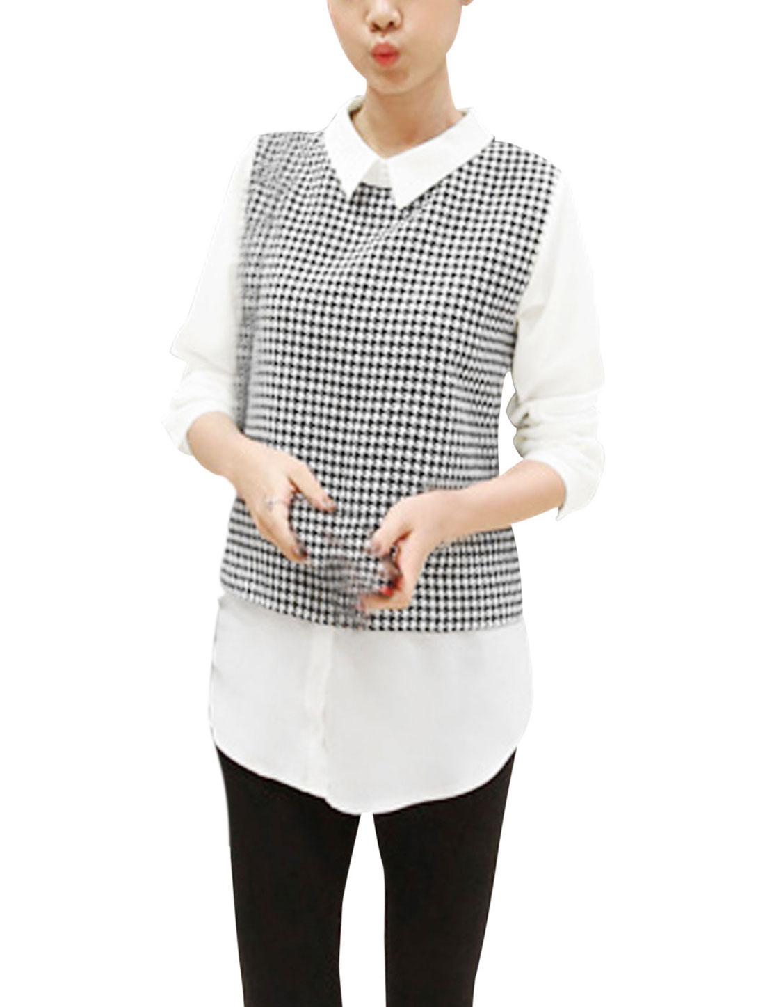 Women White Black Turndown Collar Houndstooth Pattern Tunic Top S