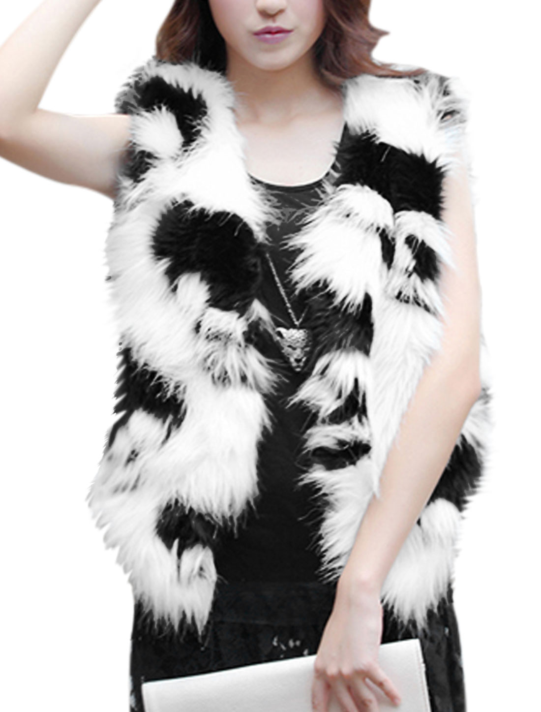 Ladies Sleeveless Hook Eye Closure Skull Pattern Plush Vest White XS
