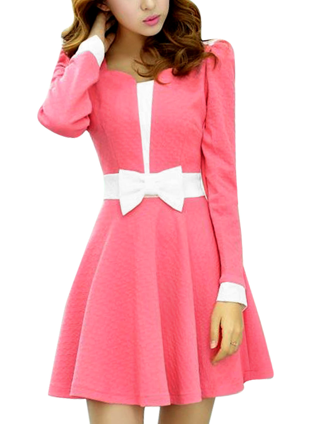 Women Scallop Neck Long Sleeve Color Blocking A-Line Dress Watermelon Red S