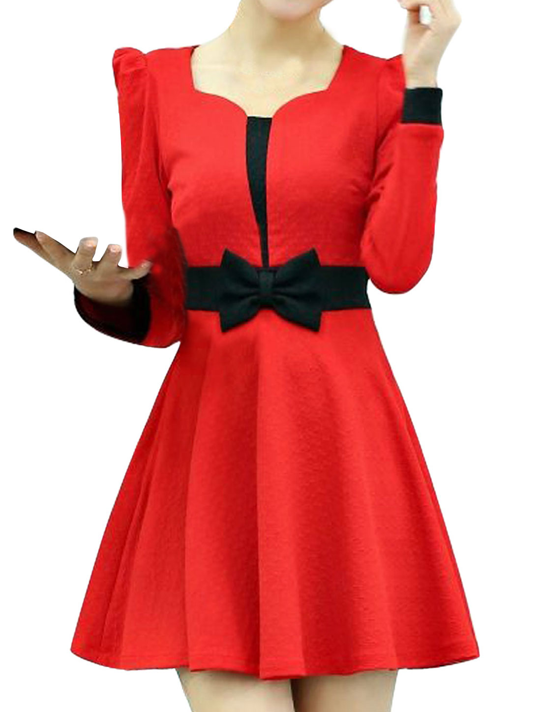 Women Scallop Neck Contrast Color Leisure A-Line Dress Red S