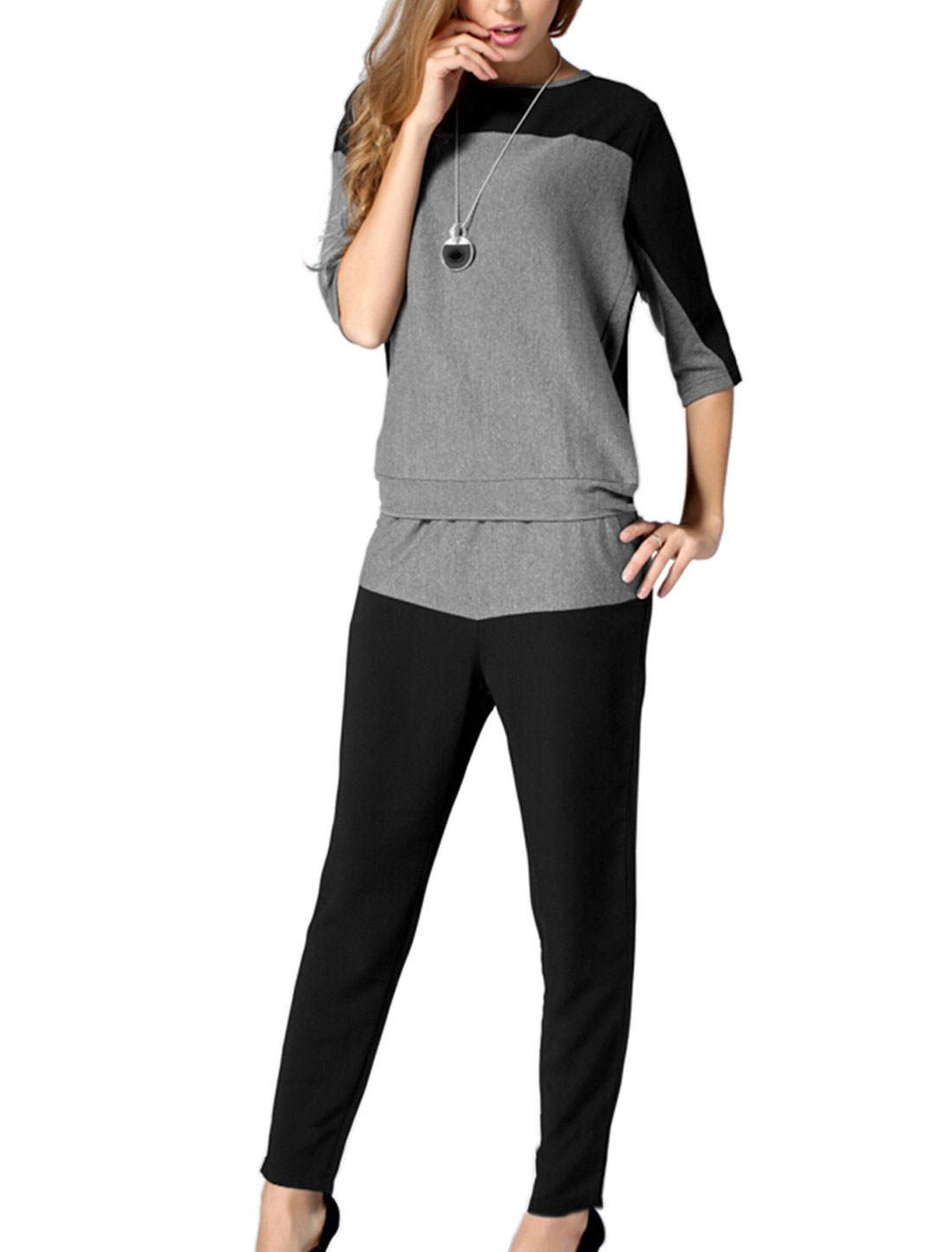 Lady Black Gray Pullover Color Block Top w Drawstring Elastic Capris Pants Set XS