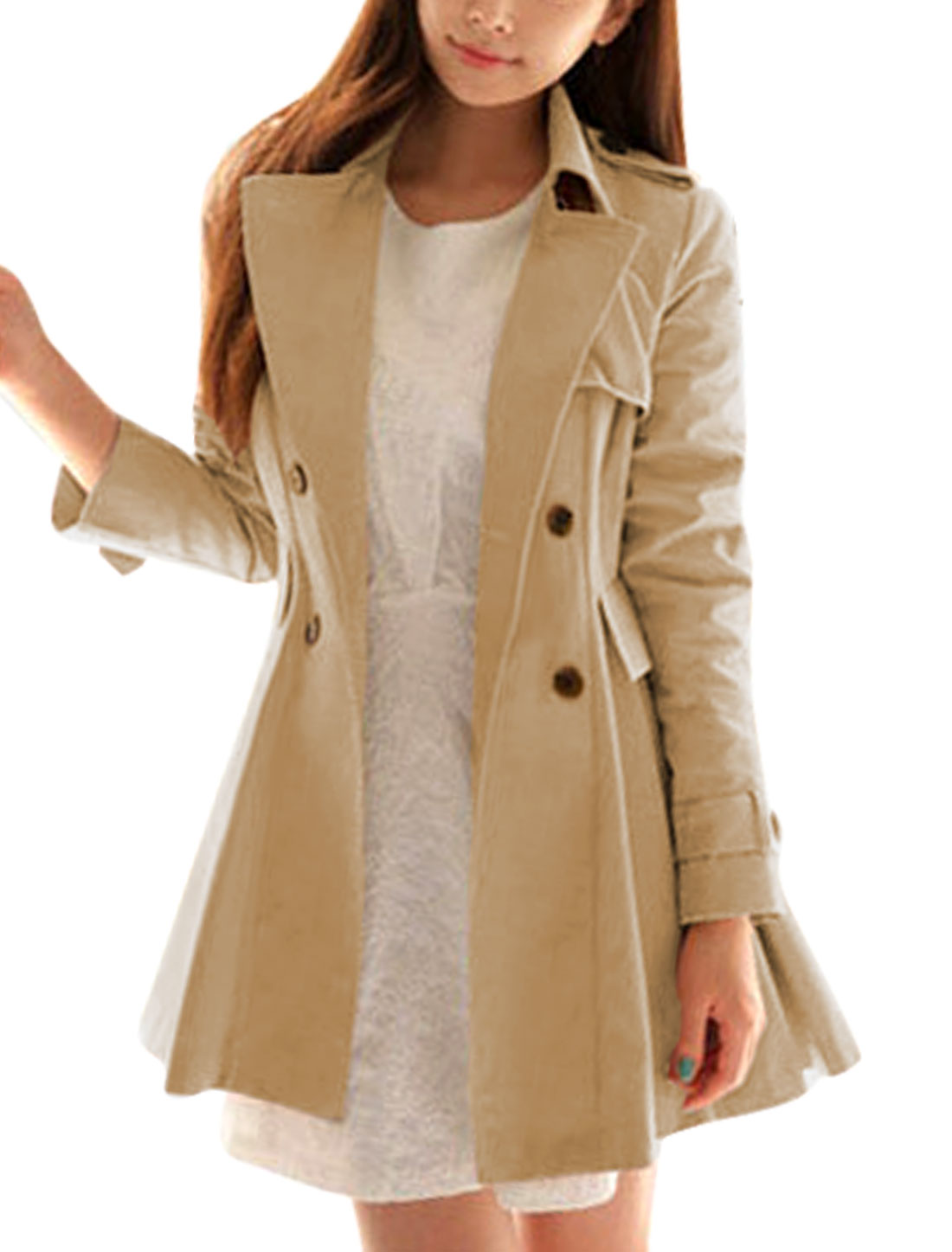 Women Single Breasted Gun Flap Decor Trench Coat w Waist Strap Khaki S