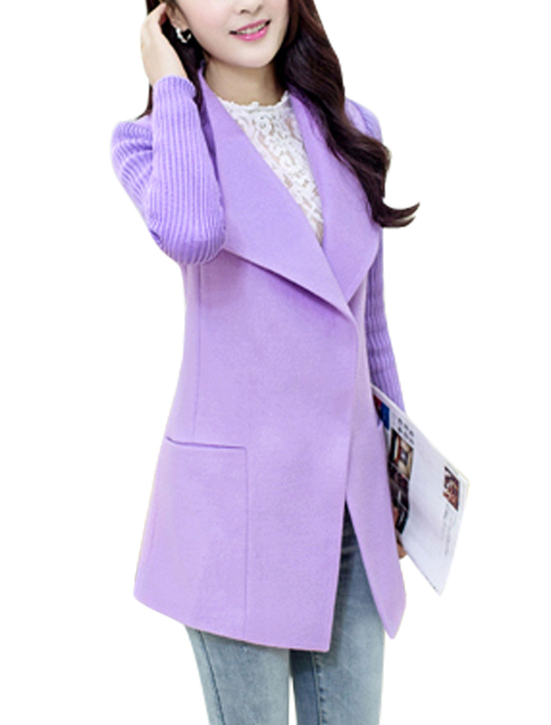 Women Hidden Button Closure Spliced Slant Pockets Tab Back Peacoat Lavender S