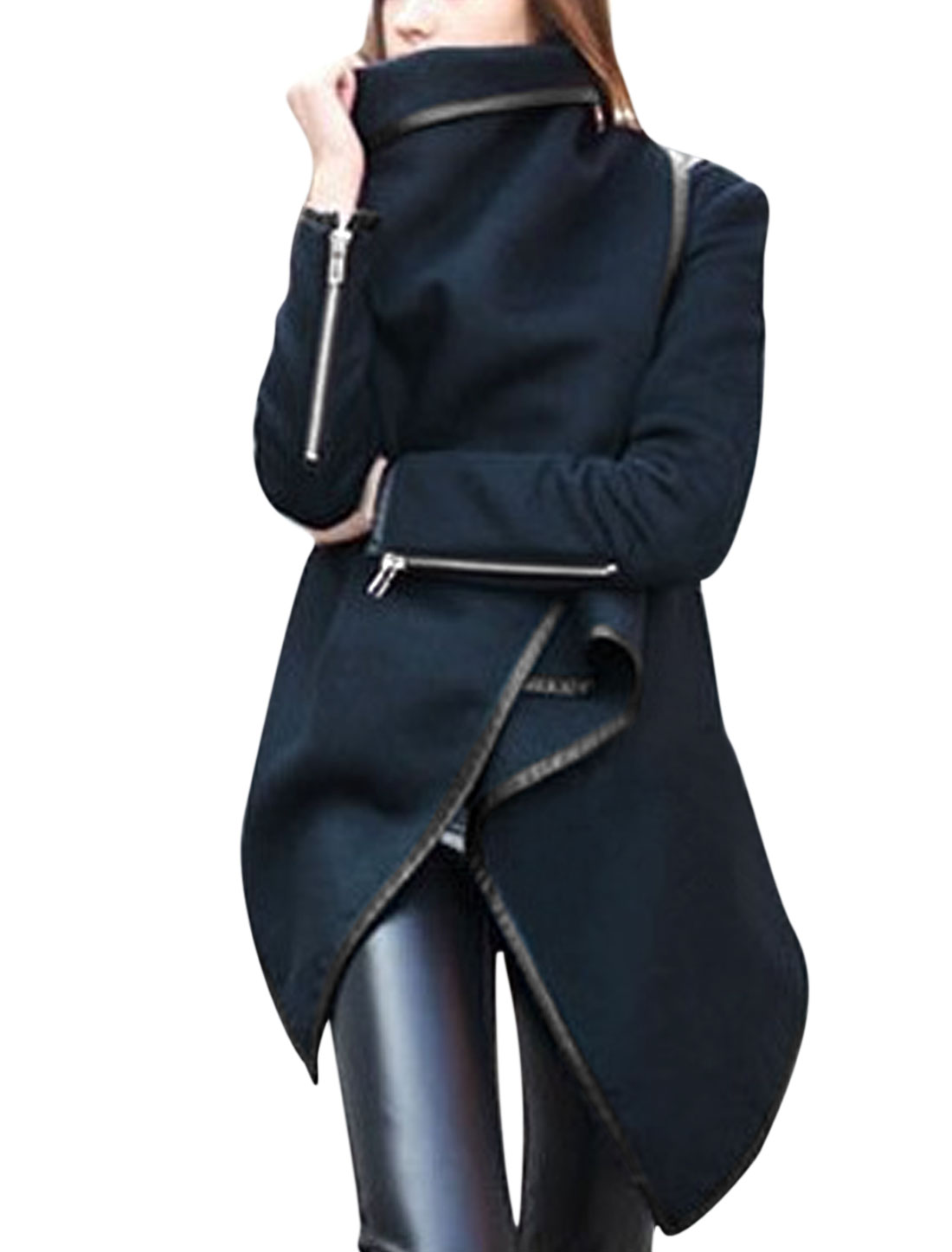 Ladies Navy Blue Convertible Collar Splice Trim Long Sleeves Worsted Coat M