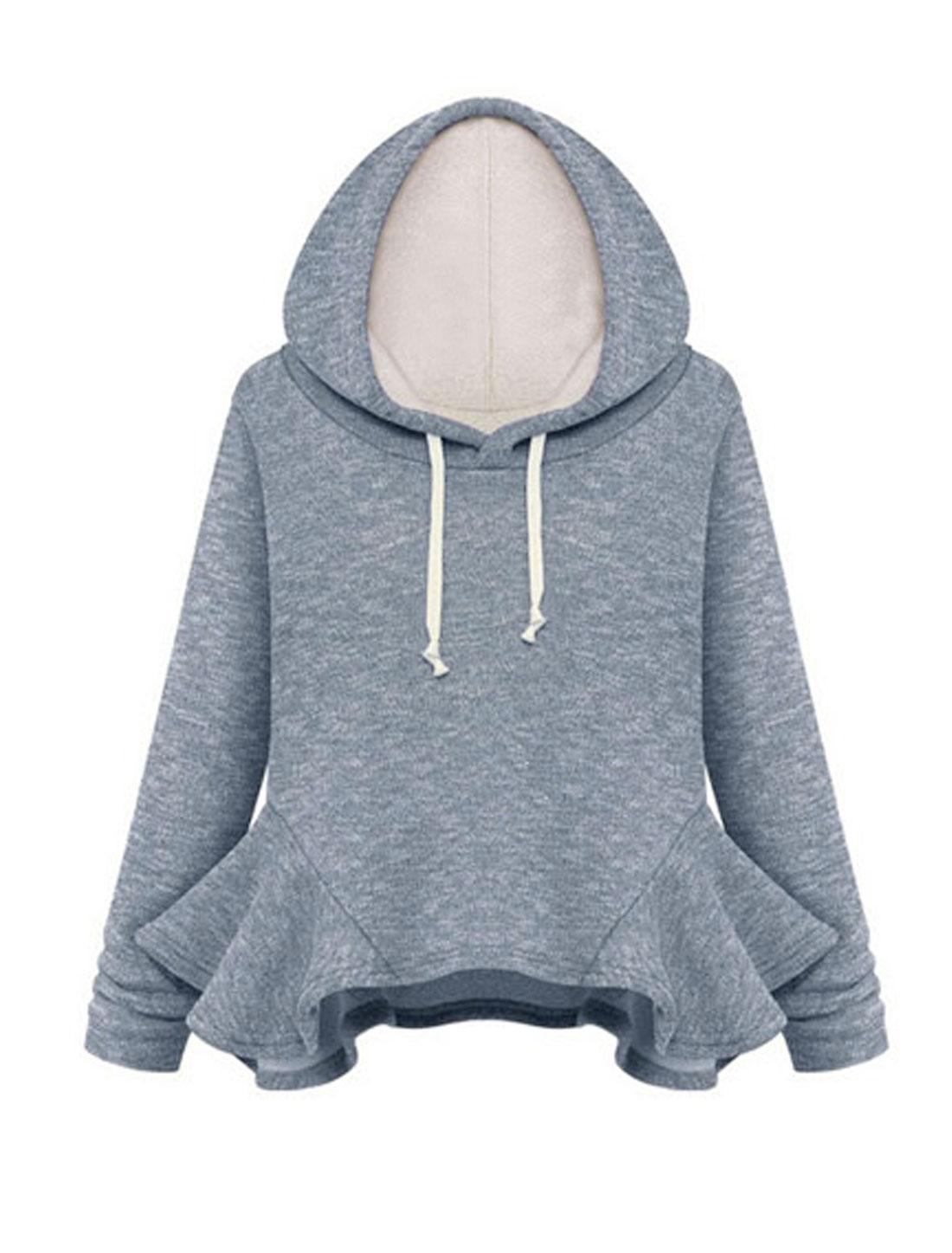 Women Long Sleeves Panel Hem Hooded Sweatshirt Dark Blue S