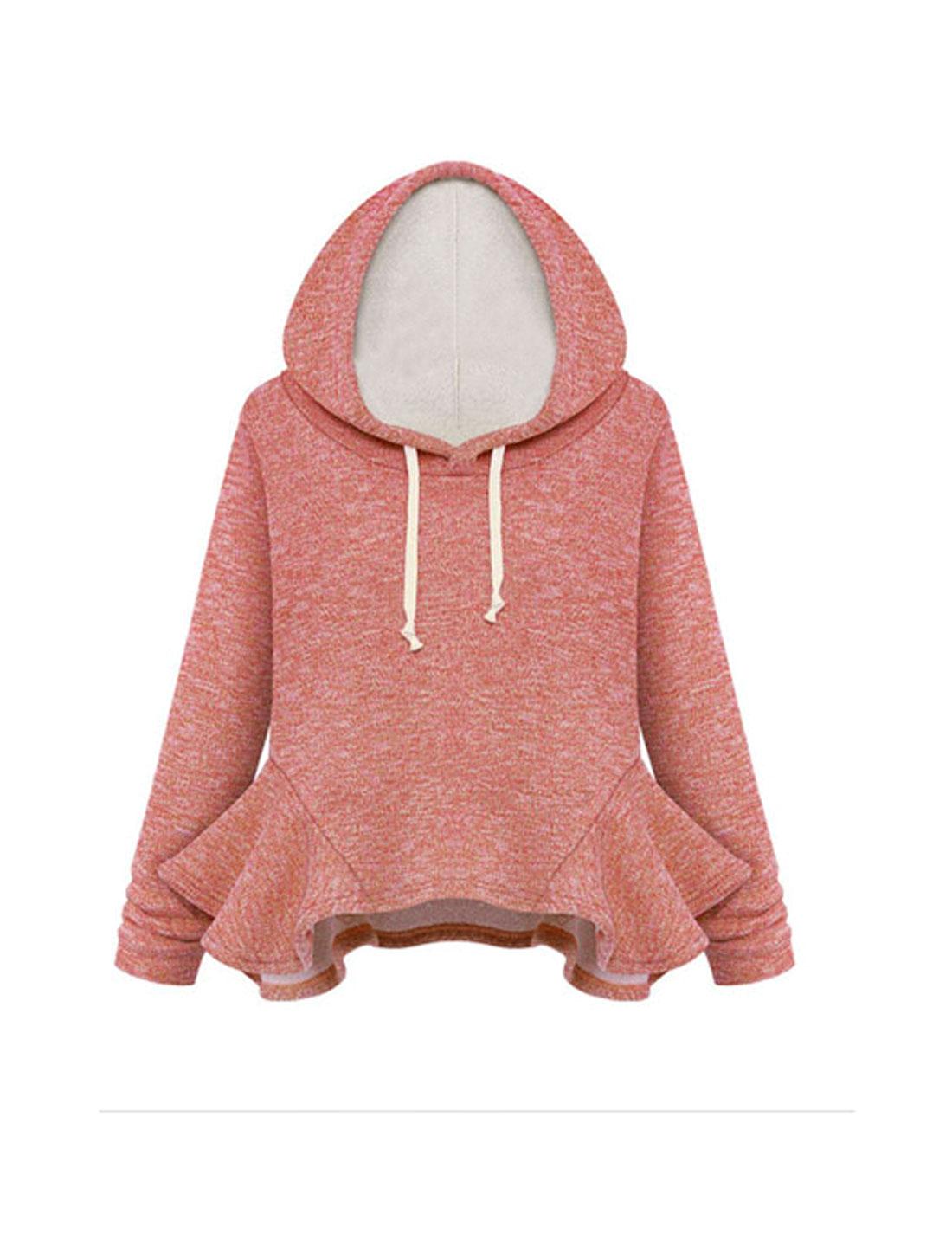 Ladies Drawstring Detail Pullover Warm Red Hooded Sweatshirt S