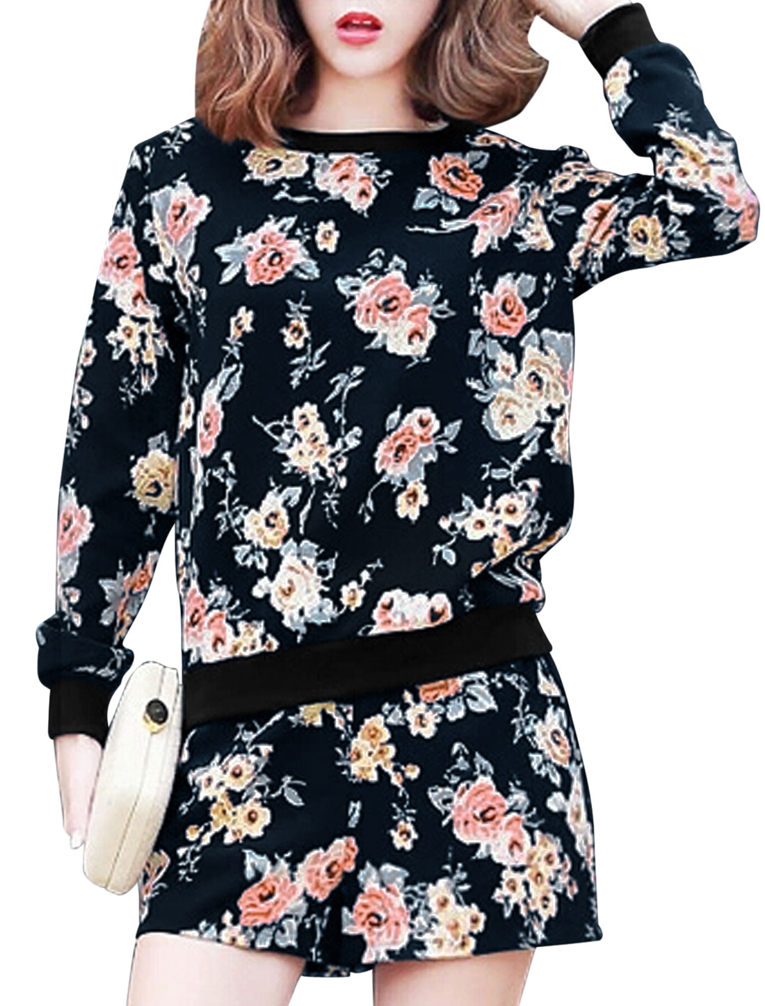 Ladies Navy Blue Pullover Floral Prints Top w Drawstring Front Pockets Shorts M