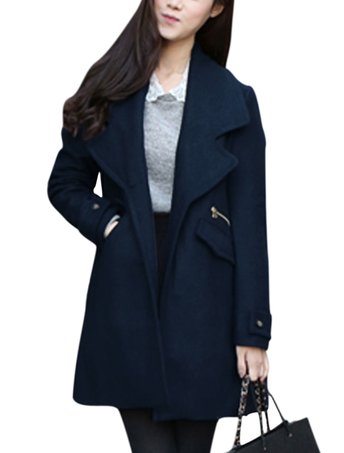 Women Turn Down Collar Long Sleeve One Button Leisure Worsted Coat Navy Blue S