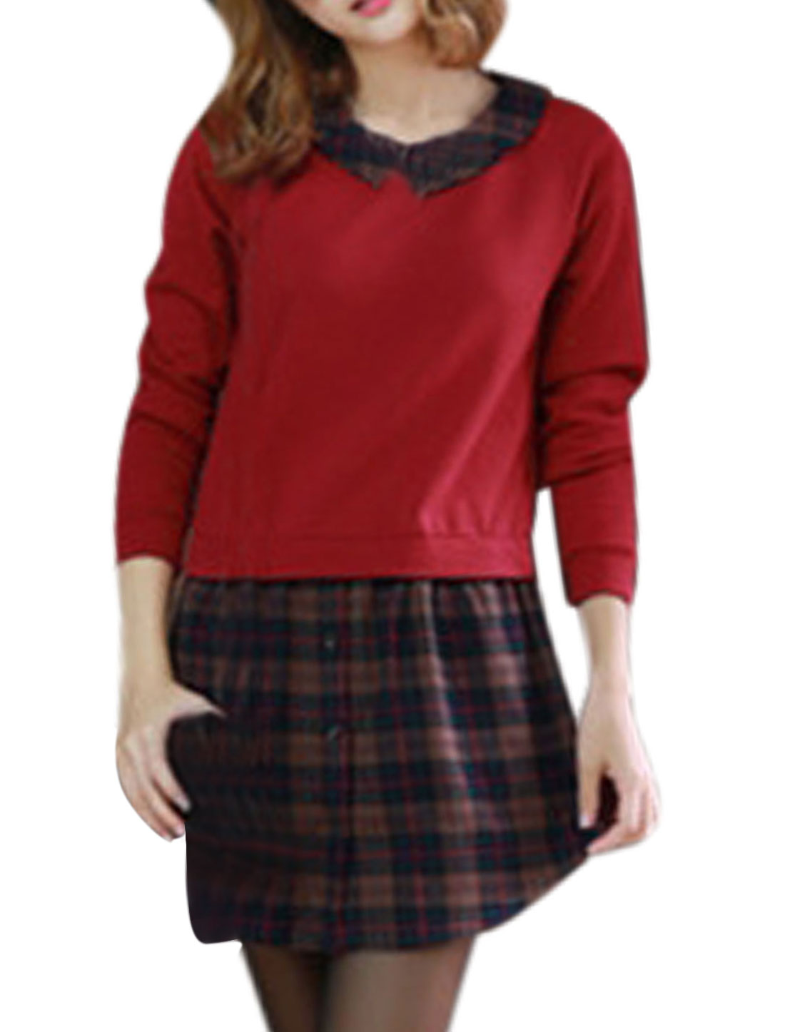 Ladies Panel Design Long Sleeves Plaids Warm Red Dress M