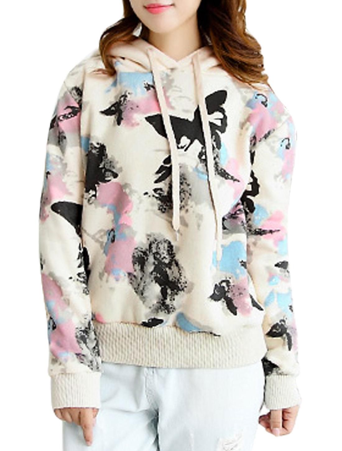 Women Hooded Long Sleeve Butterfly Pattern Casual Sweatshirt Beige M