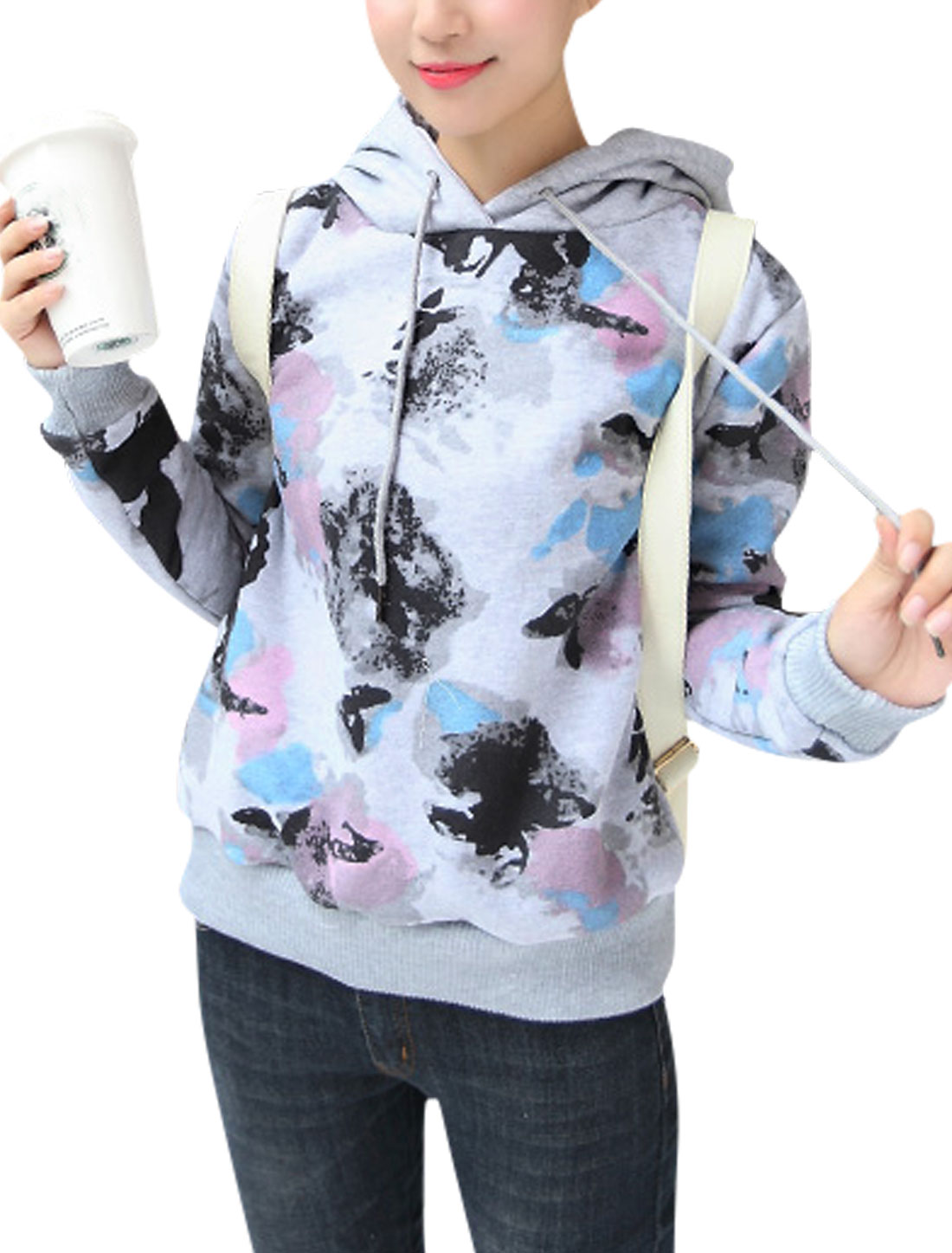 Women Double Sides Pockets Butterfly Pattern Hooded Sweatshirt Light Gray M