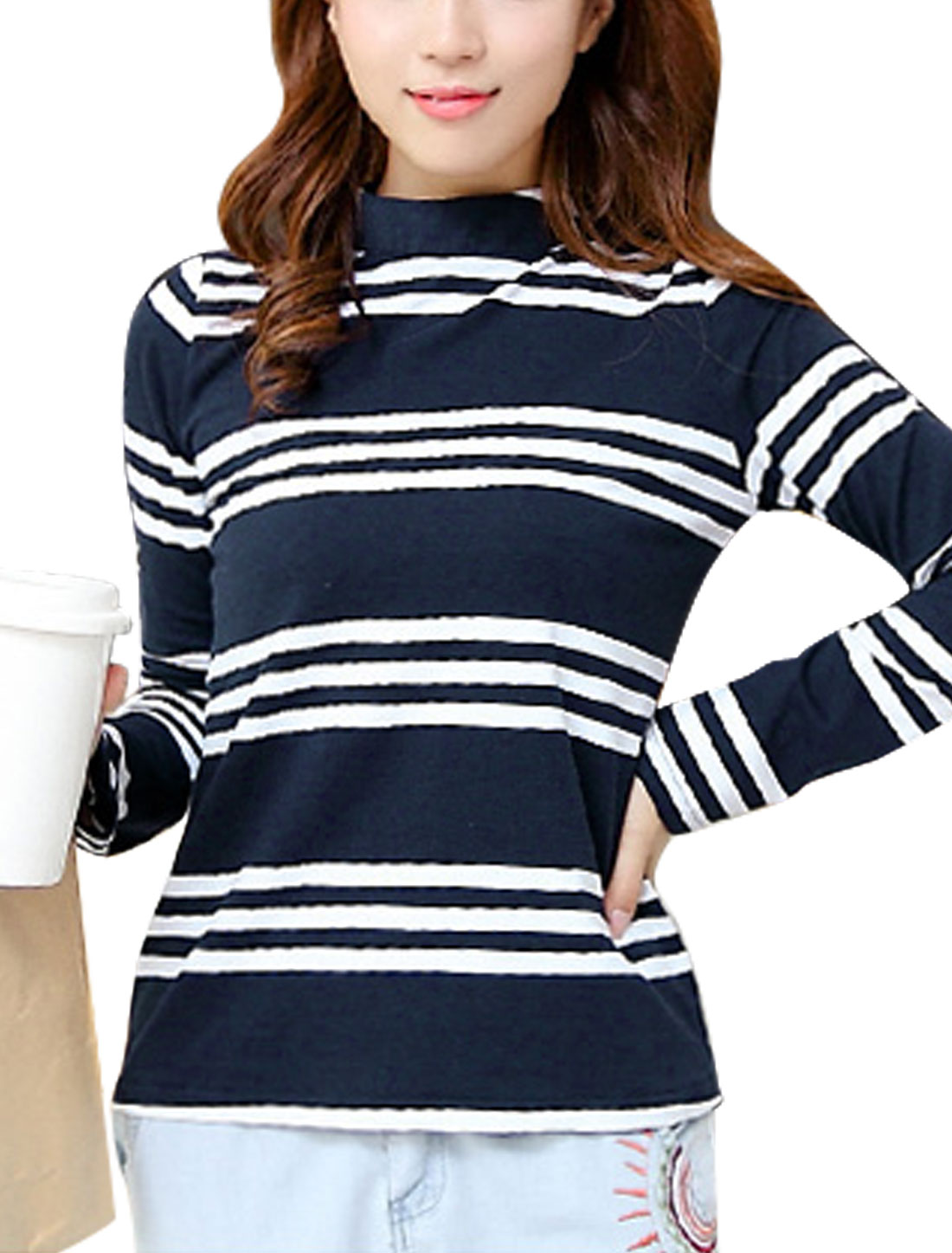 Women Navy Blue Mock Neck Long Sleeves Stripes Casual T-shirt XS