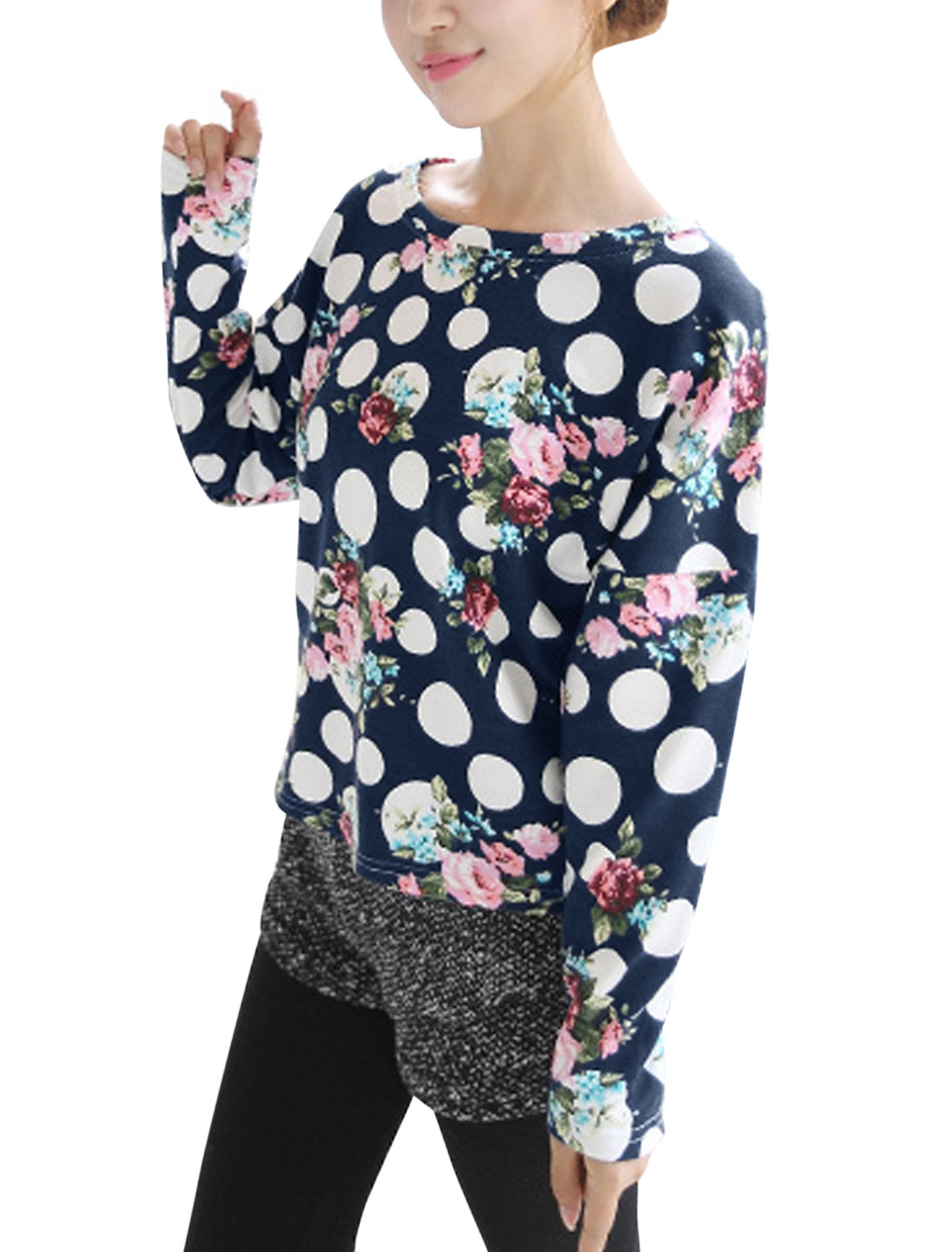 Women Polka Dots Pattern Round Neck Batwing Sleeve Casual Top Navy Blue M