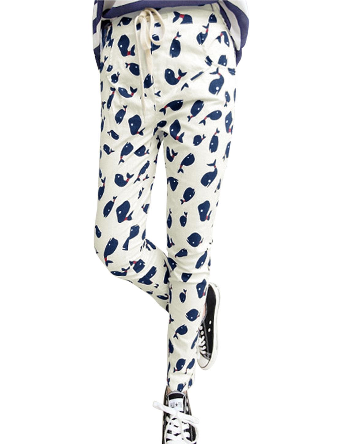 Lady White Mid Rise Drawstring Elastic Waist Back Dolphin Prints Pants M