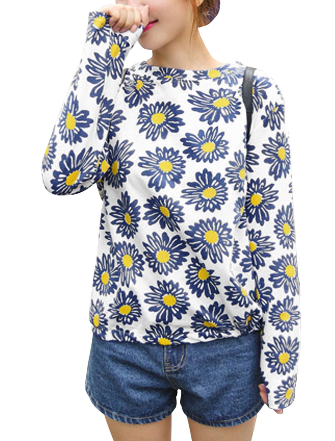 Ladies White Pullover Floral Prints Elastic Trim Loose Leisure Top M