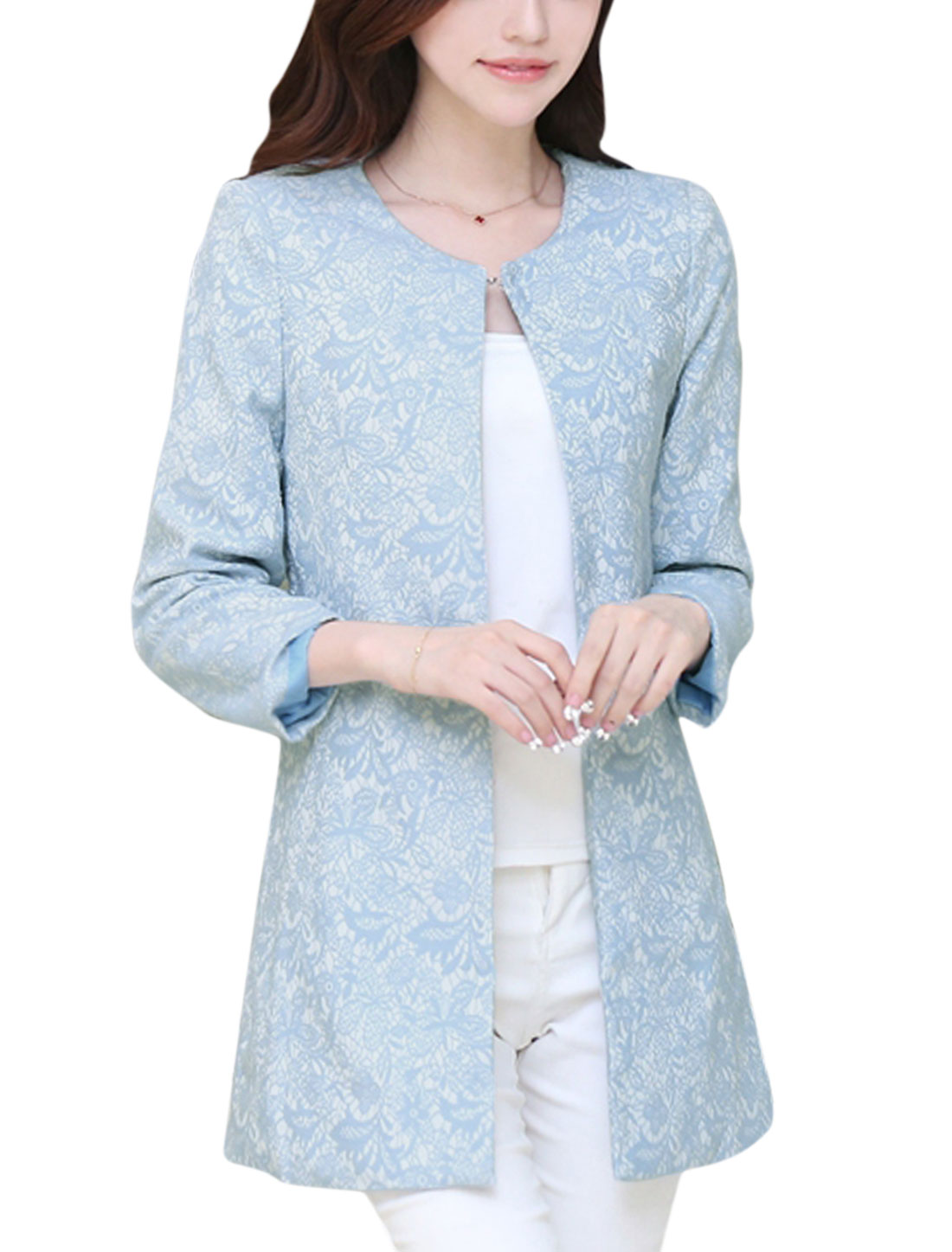 Ladies Baby Blue Floral Prints Design Hook Eye Closure Tunic Jacket XS