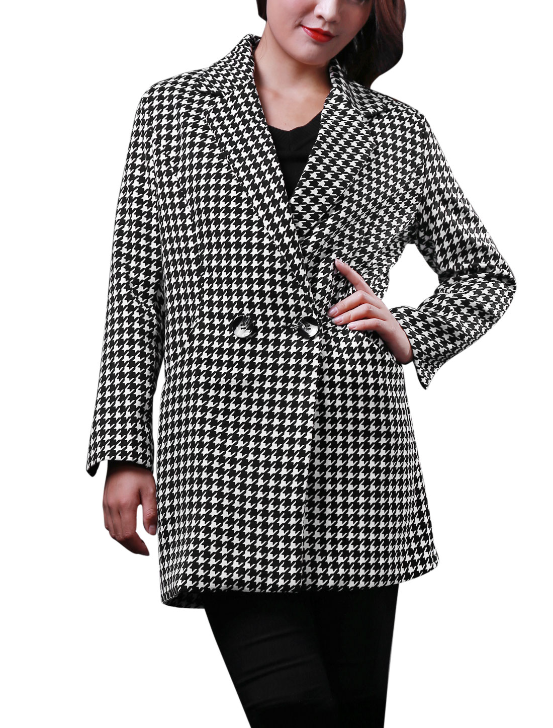 Lady Houndstooth Pattern Two Button Closure Casual Tunic Blazer Black White M