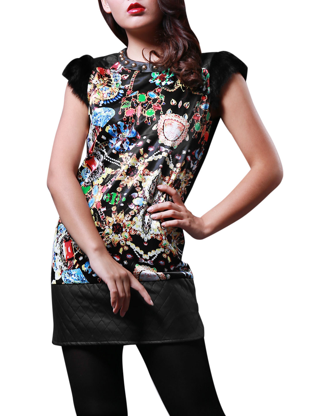 Lady Jewelry Pattern Zipper Back Casual Straight Dress Black S