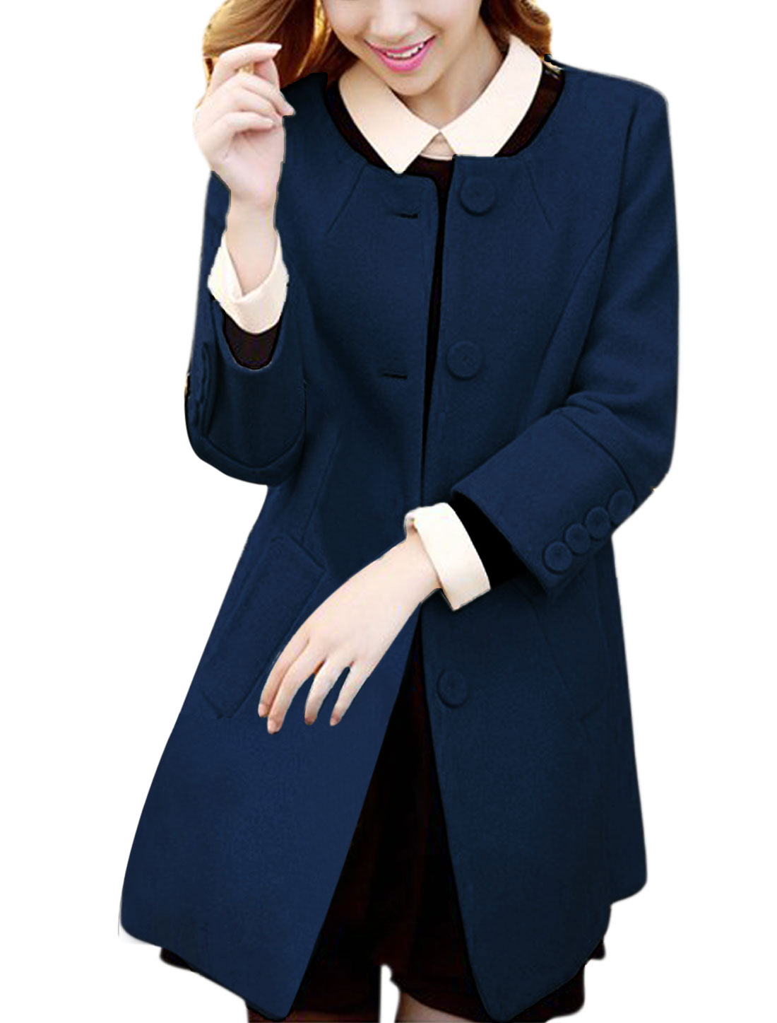 Ladies Navy Blue Long Sleeves V Neck Single Breasted Casual Worsted Coat S