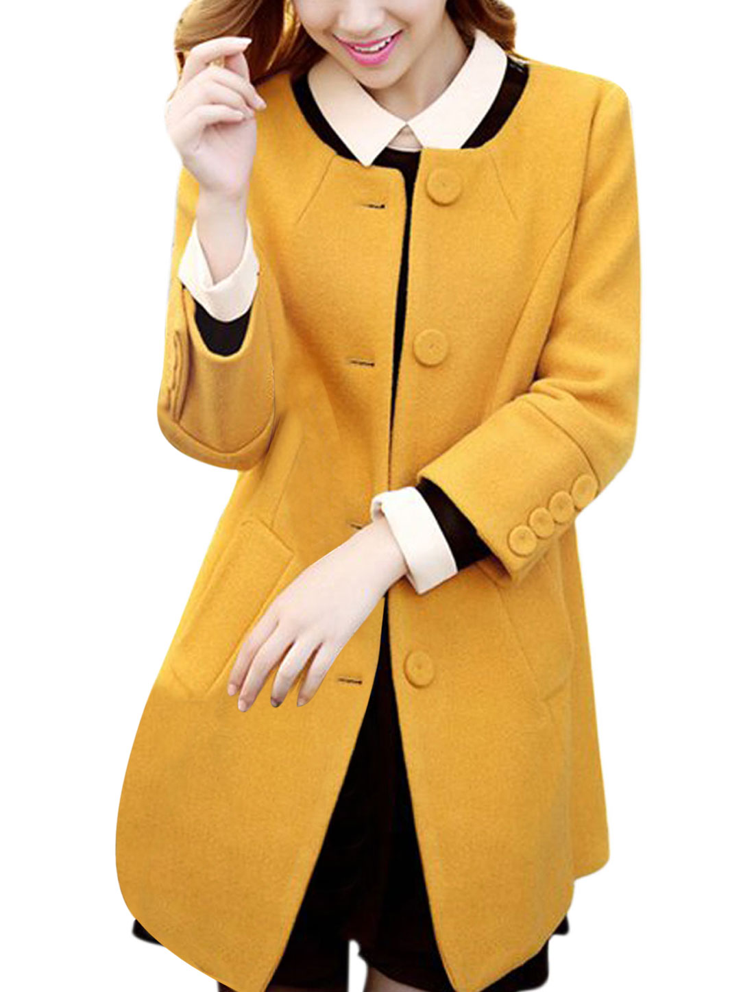 Ladies Yellow Long Sleeves V Neck Single Breasted Tab Back Worsted Coat S