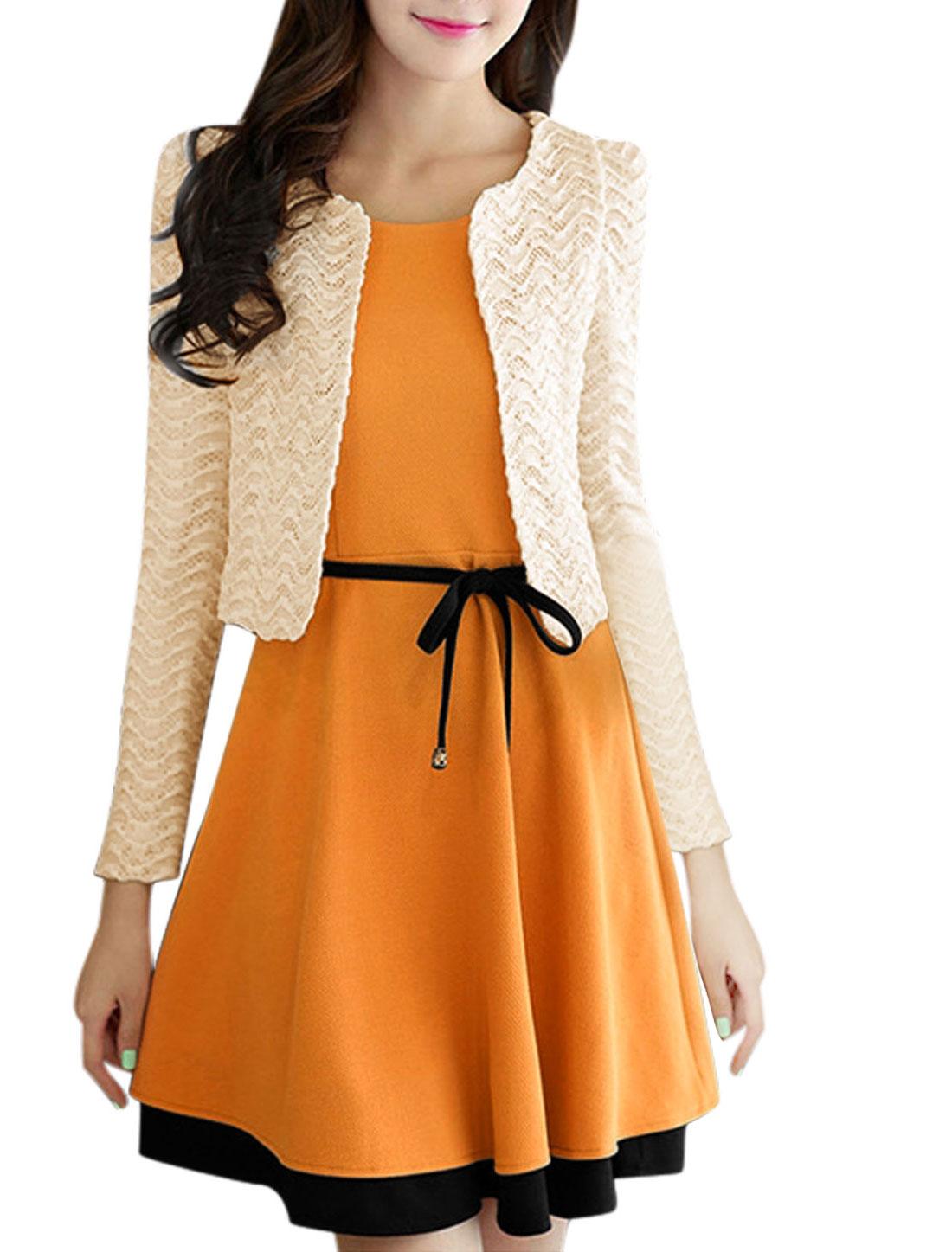 Lady Sleeveless Dress w Semi Sheer Jacket w Brooch Yellow Beige S