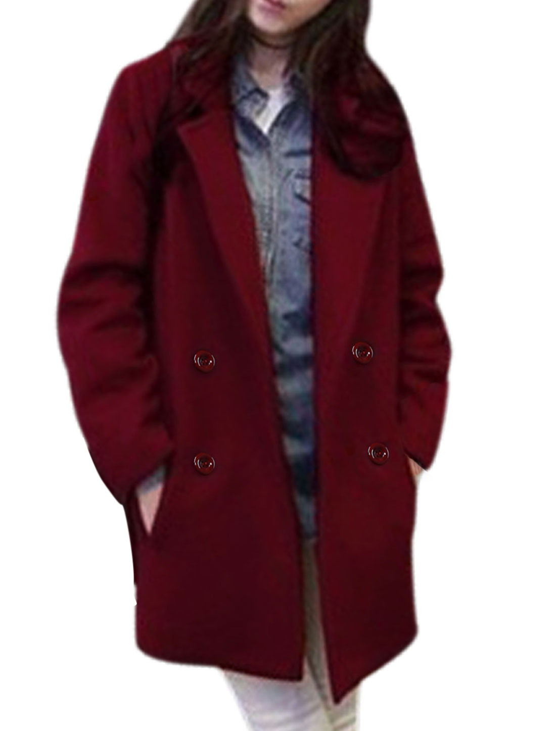 Women Notched Collar Long Sleeve Button Closure Casual Worsted Coat Burgundy S