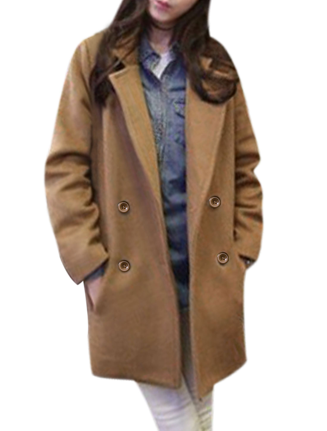 Women Notched Collar Two Front Pockets Trench Casual Worsted Coat Camel S