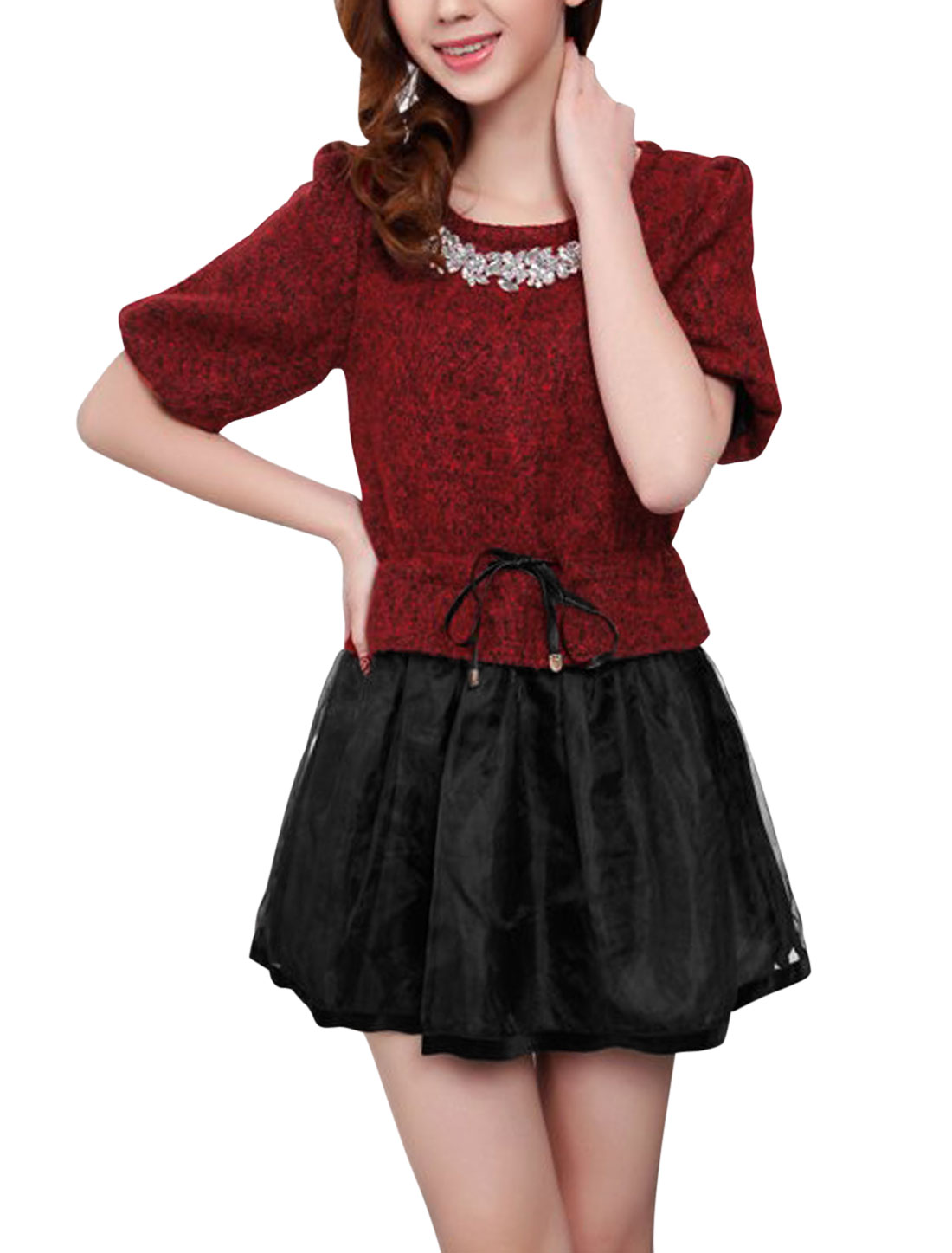 Ladies Burgundy Round Neck Short Sleeves Hidden Zipper Back Drawstring Waist Dress S