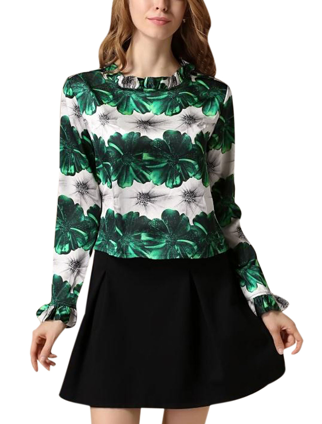 Women Floral Prints Hidden Zipper Back Ruffled Collar Top Green Beige S
