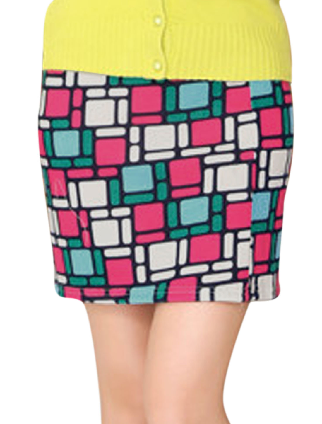 Lady Elastic Waist Geometric Prints Slim Fit Mini Skirt Fuchsia Beige XS