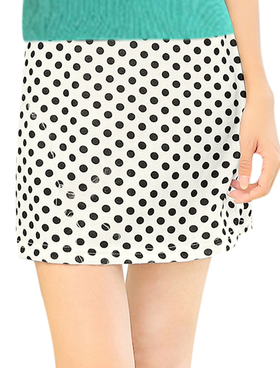 Women Dots Pattern Elastic Waist Slim Fit Knit Skirt White XS