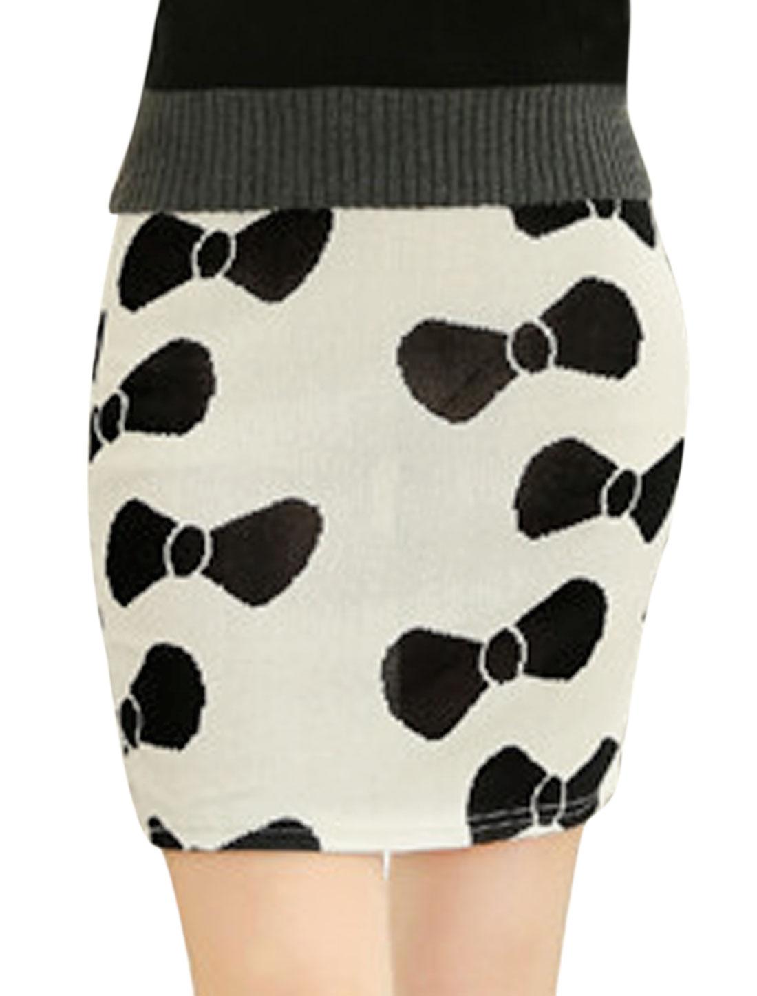 Women Elegant Allover Bowknot Print Over Hip Design Mini Skirt White XS