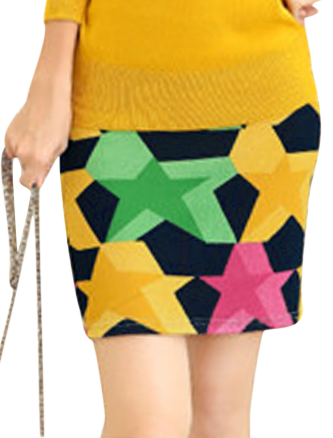 Ladies Stretchy Waist From-fitting Stars Pattern Mini Skirt Multicolor XS
