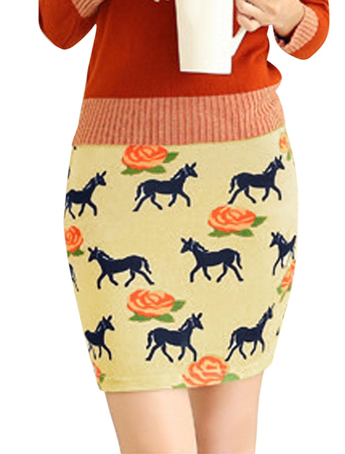 Women Floral Prints Horse Pattern Leisure Mini Skirt Light Yellow XS
