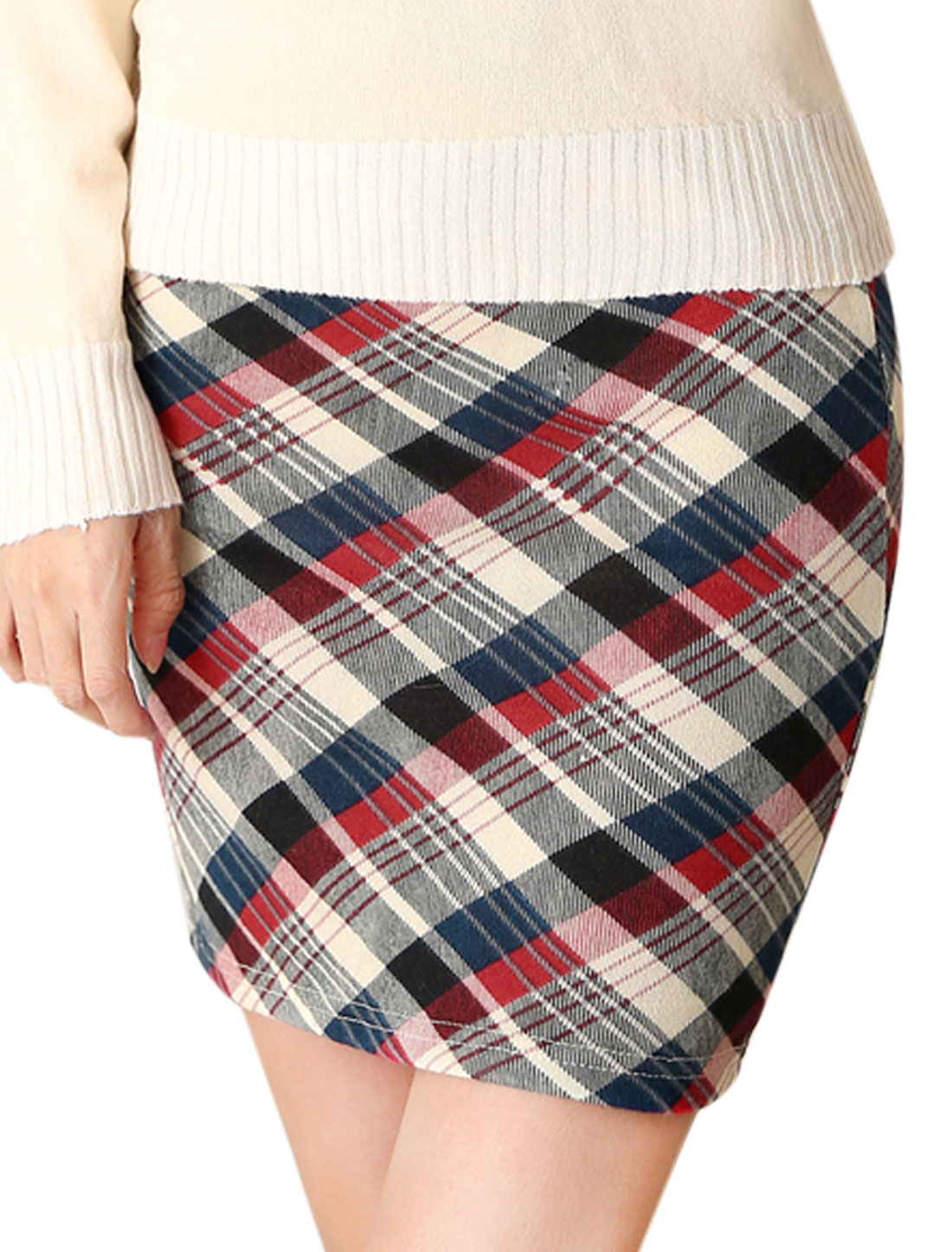 Stylish Allover Plaids Print Over Hip Design Mini Skirt for Women Multicolor XS