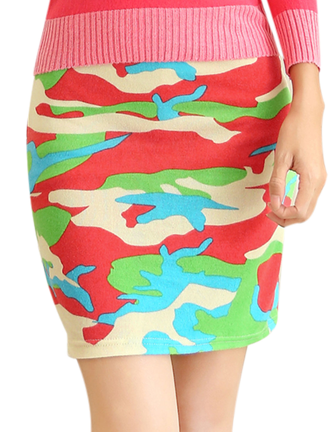 Women Allover Cloud Print Over Hip Design Fashion Mini Skirt Green Coral XS