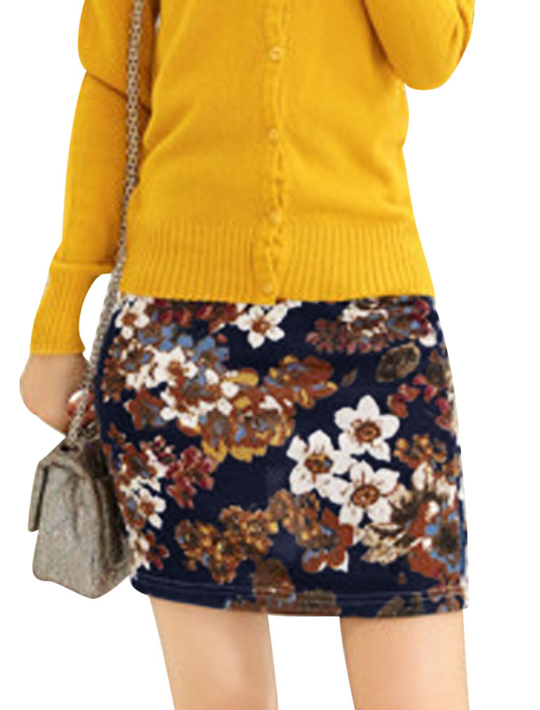 Women Natural Waist Floral Prints Fashion Mini Skirt Navy Blue XS