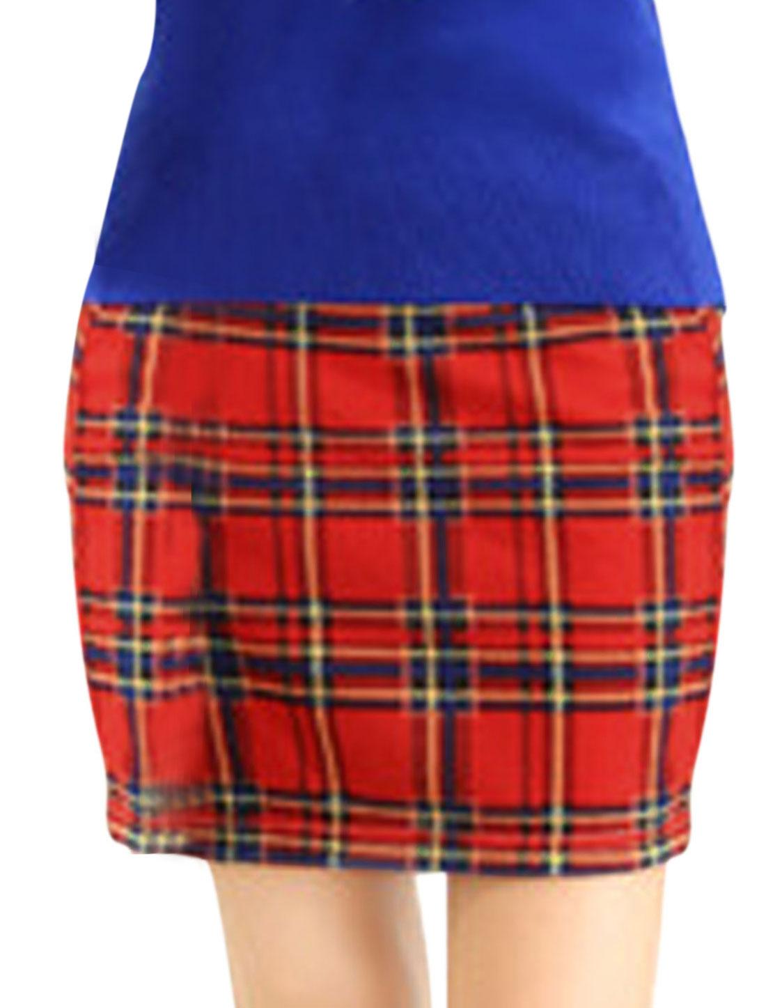 Ladies Stretchy Waist Plaids Slim Fit Mini Skirt Red XS