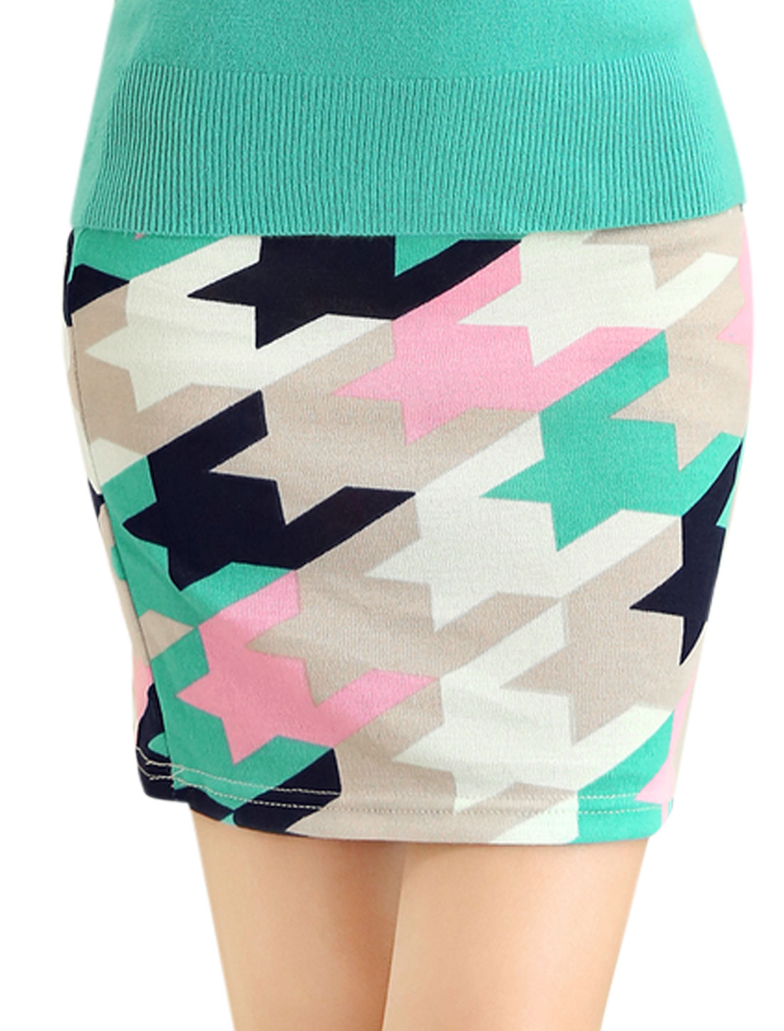 Lady Newly Allover Houndstooth Print Over Hip Design Mini Skirt Beige Pink XS