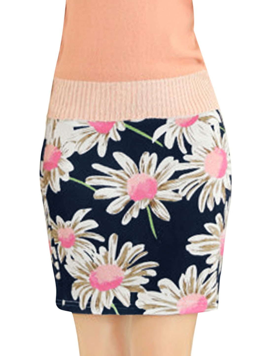 Women Floral Prints Elastic Waist Fashion Design Mini Skirt Navy Blue XS