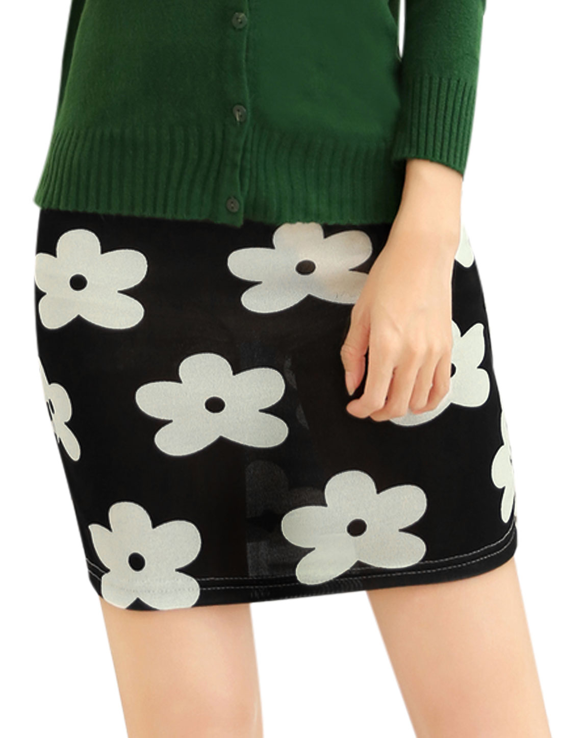 Women Floral Prints Elastic Waist Fashion Design Mini Skirt Black XS