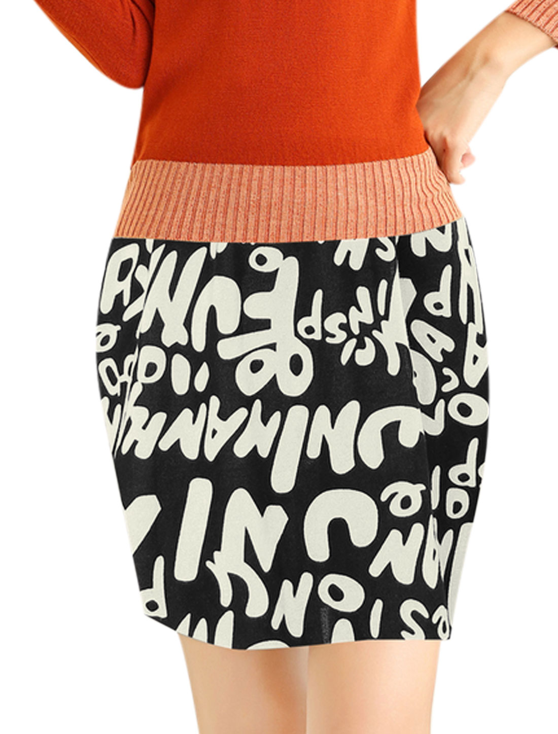 Allover Letters Print Over Hip Design Mini Skirt for Lady Black XS