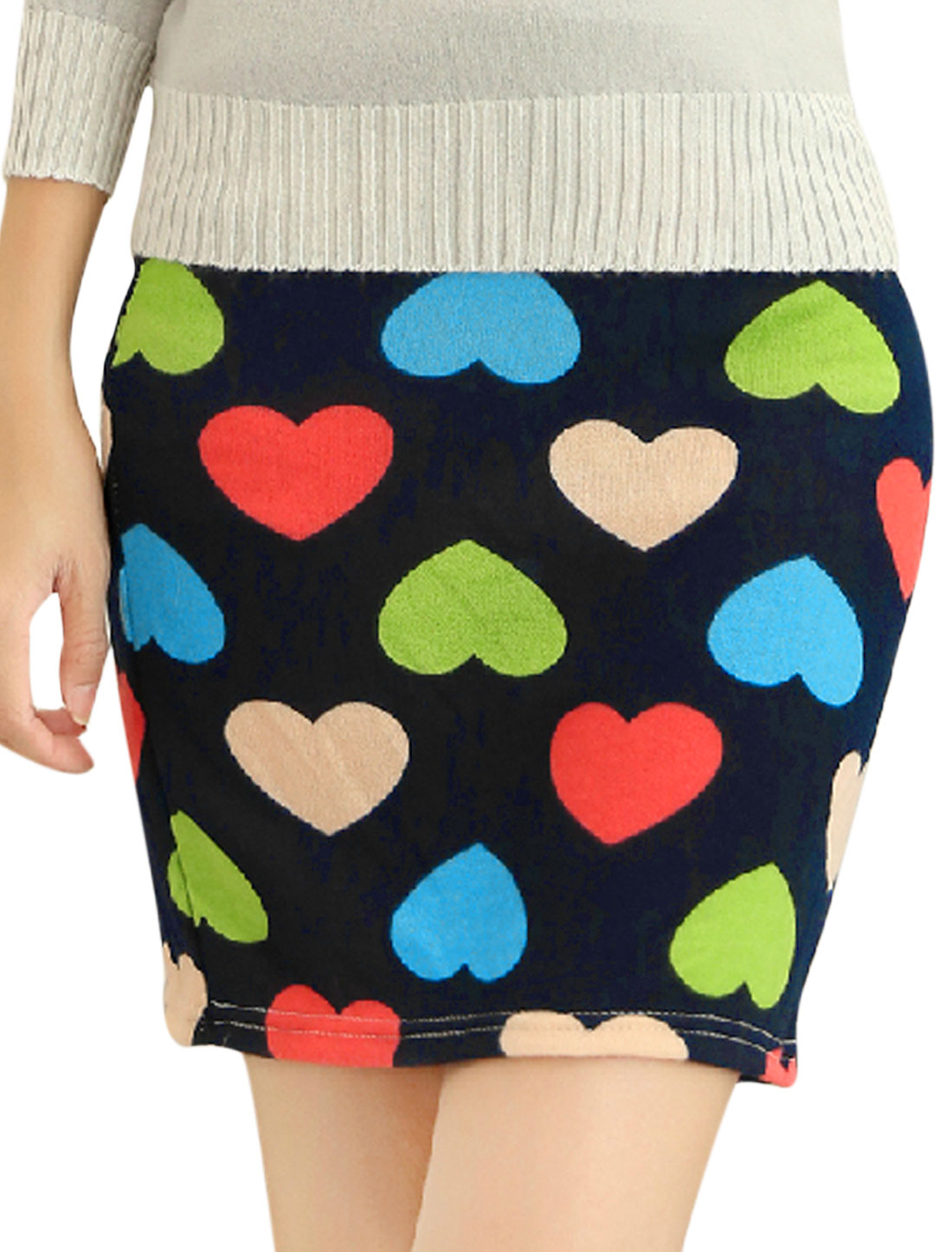 Women Elegant Allover Hearts Print Over Hip Design Mini Skirt Navy Blue XS