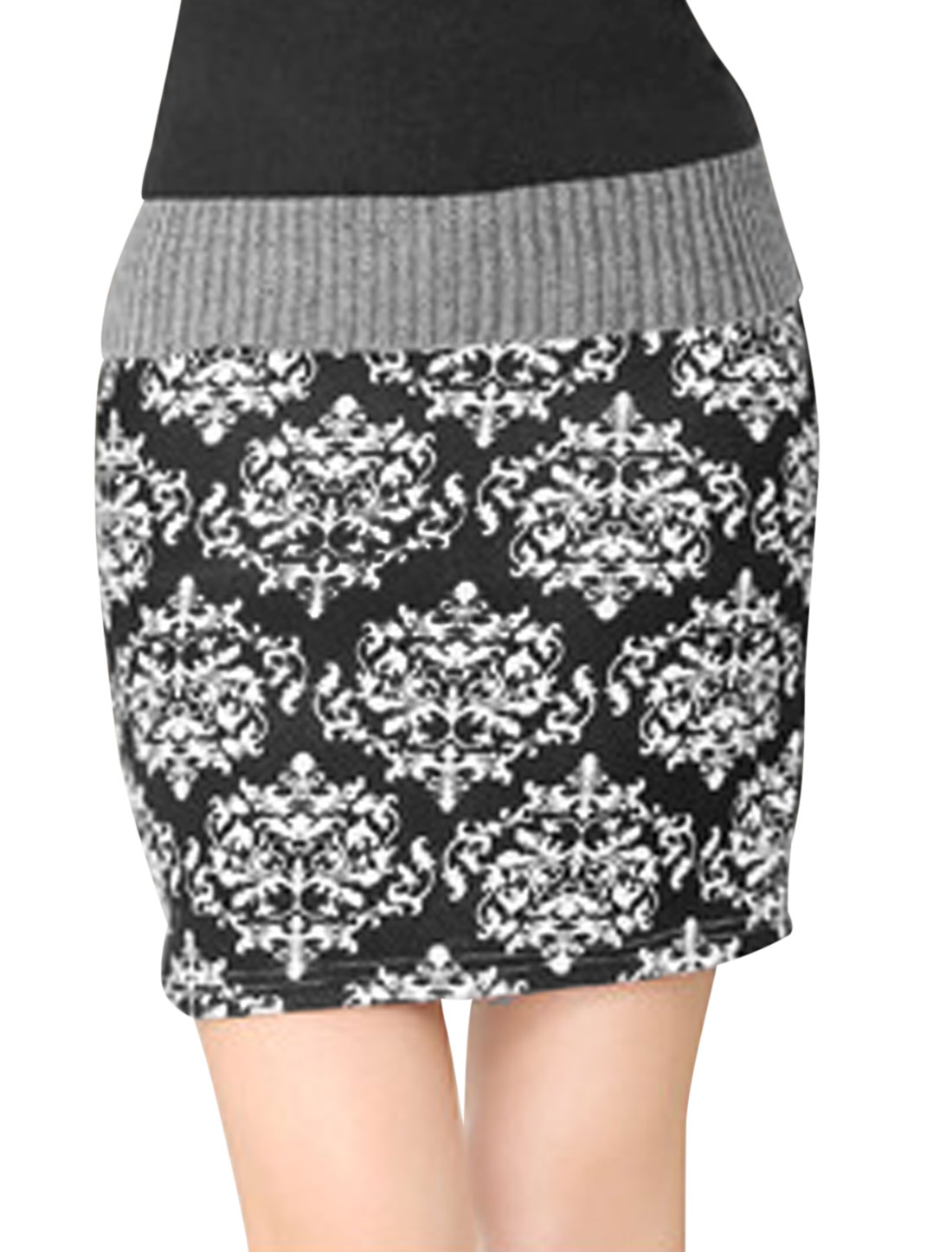 Women High Waist Jacquaid Prints Straight Sexy Skirt Black White XS