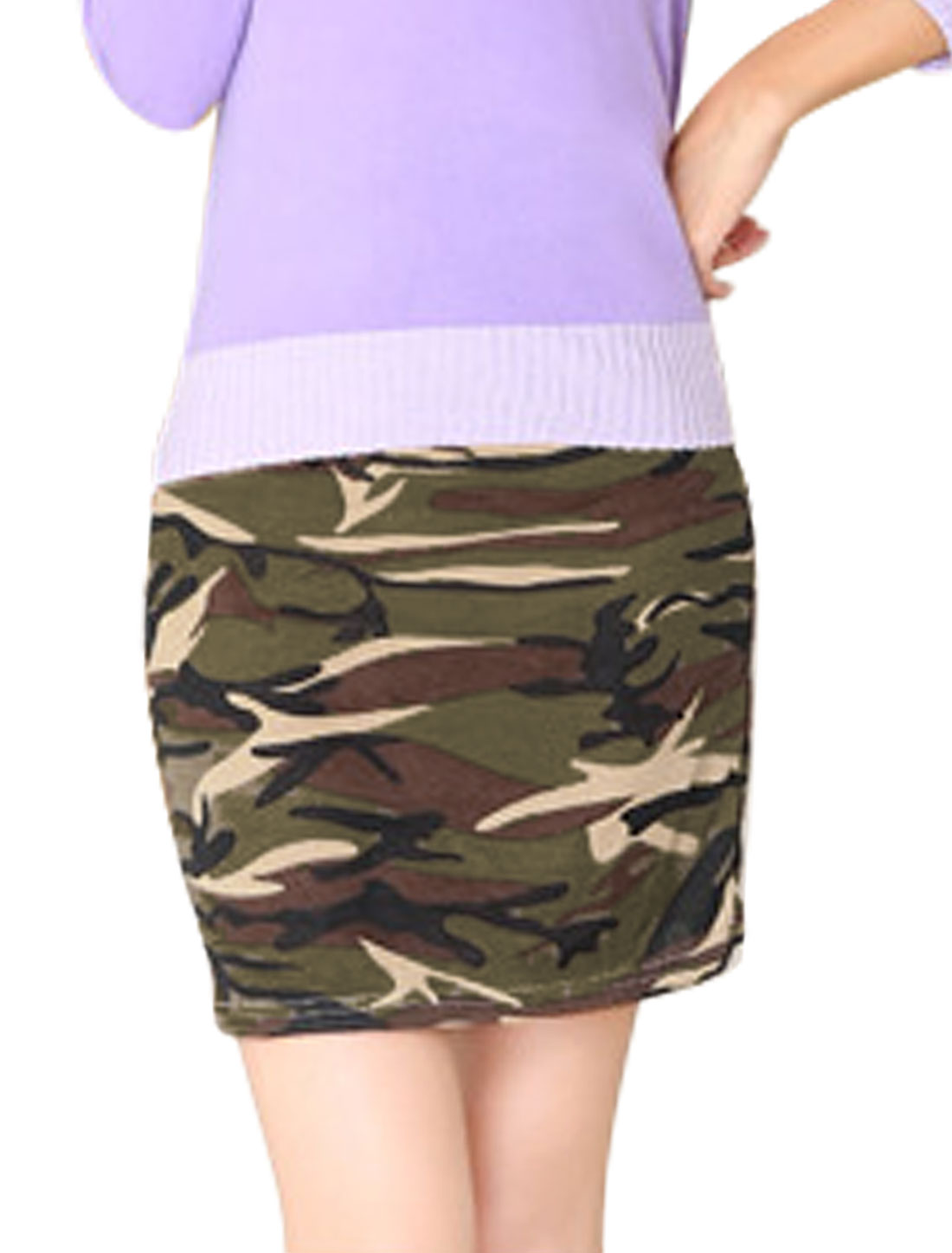 Women Elegant Allover Camo Print Over Hip Design Mini Skirt Beige Army Green XS