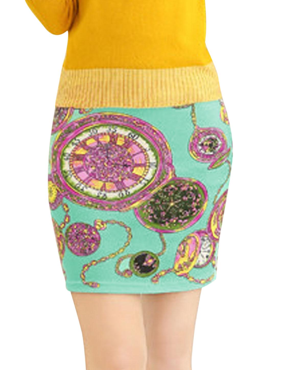 Women Natural Waist Pocket Watch Pattern Sexy Mini Skirt Sea Green XS