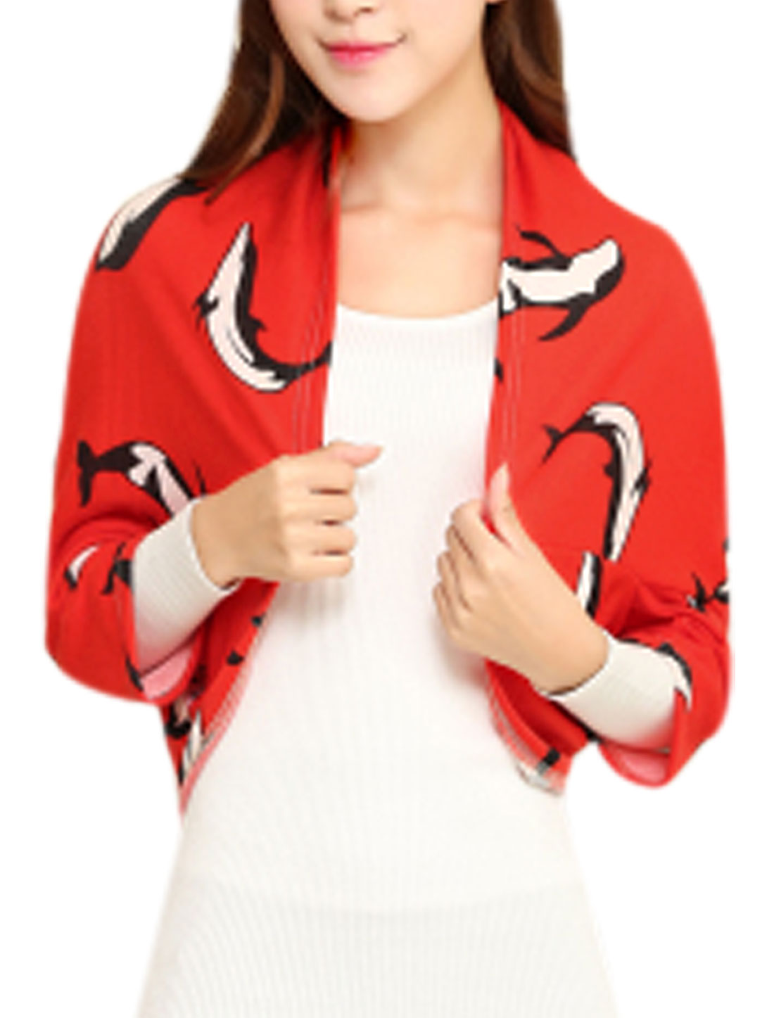 Women Dolphin Pattern 3/4 Sleeve Buttonless Leisure Shrug Red XS