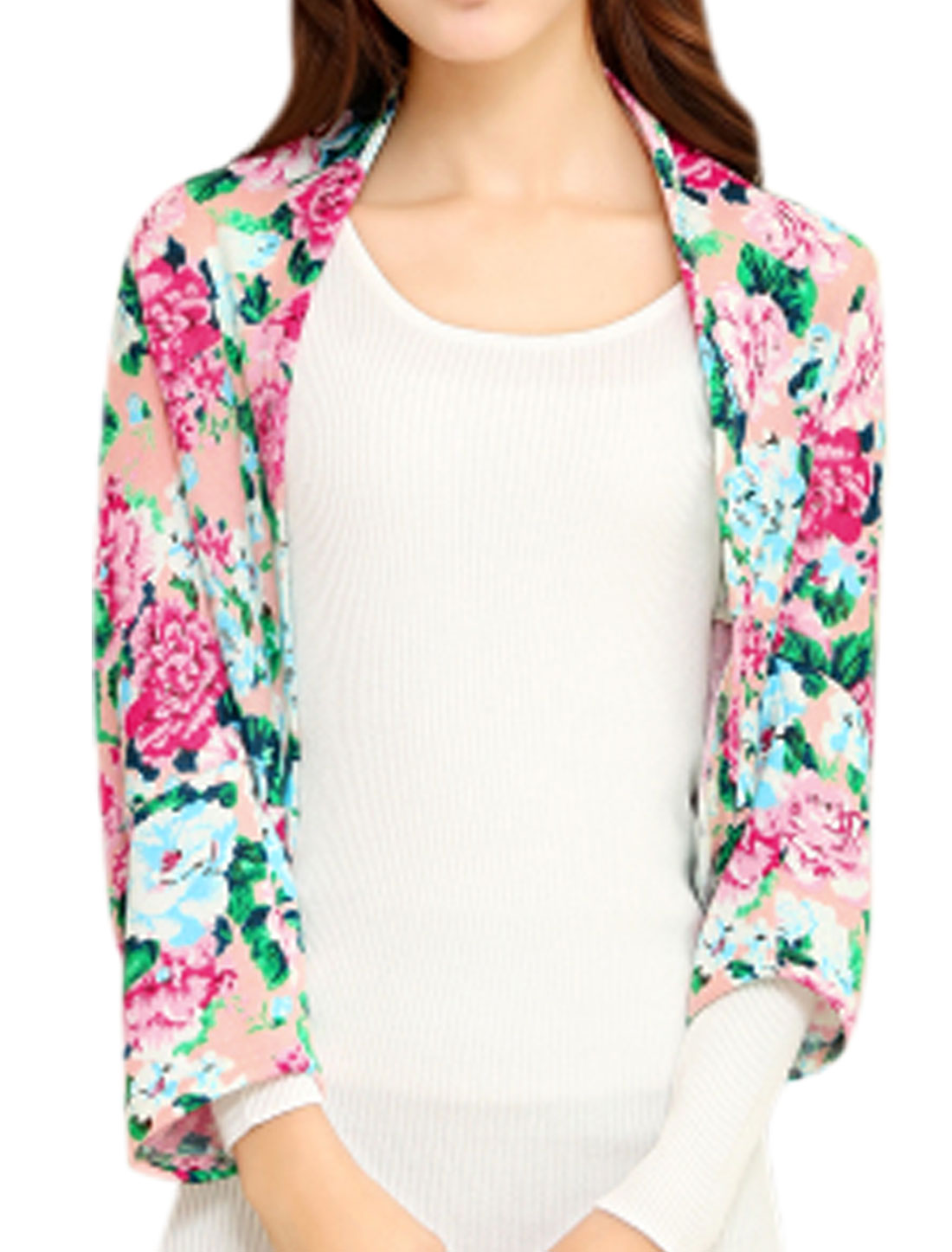 Women Front Opening Floral Prints Leisure Design Shrug Multi Color XS